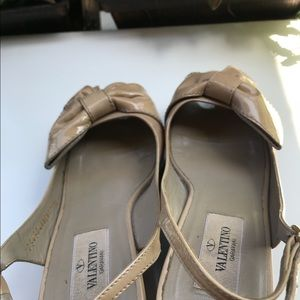 Valentino Nude Patent Ankle Peep Toe Wood Wedges